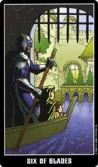 Six of Swords Tarot Card - Fradella Tarot Deck
