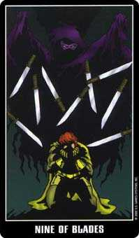 Nine of Arrows Tarot Card - Fradella Tarot Deck