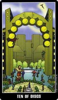 Ten of Rings Tarot Card - Fradella Tarot Deck