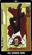 The Hanged Man Tarot card in Fradella deck