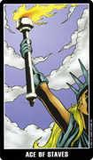 Ace of Wands Tarot card in Fradella Tarot deck