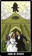Four of Wands Tarot card in Fradella Tarot deck