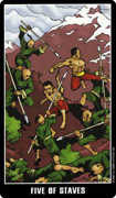 Five of Wands Tarot card in Fradella Tarot deck