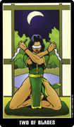 Two of Swords Tarot card in Fradella Tarot deck