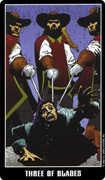 Three of Swords Tarot card in Fradella deck