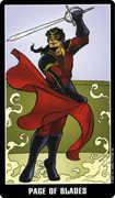 Page of Swords Tarot card in Fradella Tarot deck
