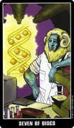 Seven of Coins Tarot card in Fradella Tarot deck