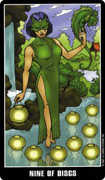 Nine of Coins Tarot card in Fradella Tarot deck