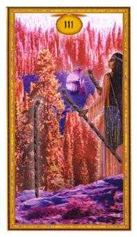 Three of Pipes Tarot Card - Gendron Tarot Deck