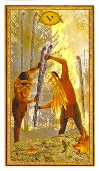 Five of Wands Tarot Card - Gendron Tarot Deck