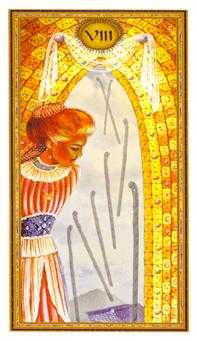 Eight of Pipes Tarot Card - Gendron Tarot Deck