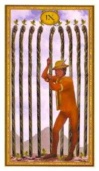 Nine of Batons Tarot Card - Gendron Tarot Deck