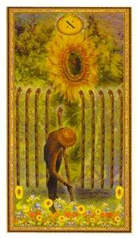 Ten of Staves Tarot Card - Gendron Tarot Deck