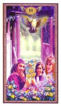 Three of Hearts Tarot Card - Gendron Tarot Deck