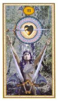 Three of Arrows Tarot Card - Gendron Tarot Deck