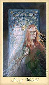Two of Staves Tarot Card - Ghosts & Spirits Tarot Deck