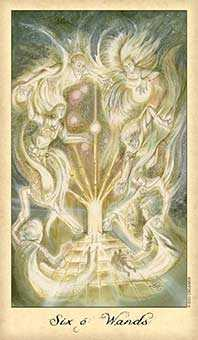 Six of Batons Tarot Card - Ghosts & Spirits Tarot Deck