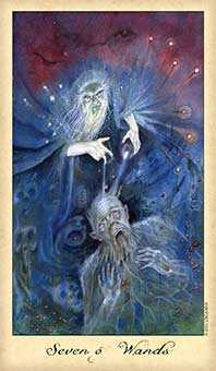 Seven of Staves Tarot Card - Ghosts & Spirits Tarot Deck
