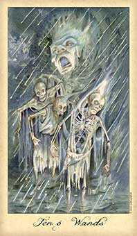 Ten of Staves Tarot Card - Ghosts & Spirits Tarot Deck