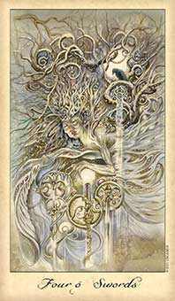 Four of Bats Tarot Card - Ghosts & Spirits Tarot Deck