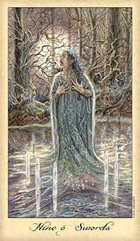 Nine of Arrows Tarot Card - Ghosts & Spirits Tarot Deck
