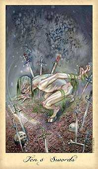 Ten of Swords Tarot Card - Ghosts & Spirits Tarot Deck