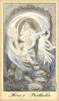 Three of Coins Tarot Card - Ghosts & Spirits Tarot Deck
