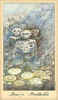 Four of Discs Tarot Card - Ghosts & Spirits Tarot Deck