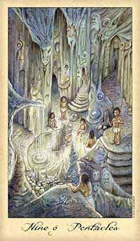 Nine of Coins Tarot Card - Ghosts & Spirits Tarot Deck