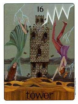 The Falling Tower Tarot Card - Gill Tarot Deck