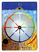 Wheel of Fortune Tarot card in Gill deck