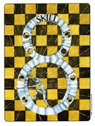 Eight of Coins Tarot card in Gill deck