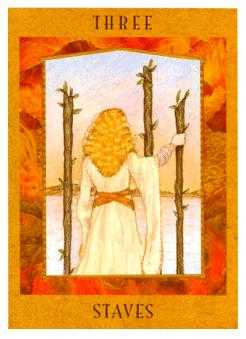Three of Batons Tarot Card - Goddess Tarot Deck