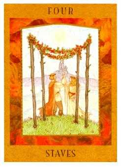 Four of Batons Tarot Card - Goddess Tarot Deck