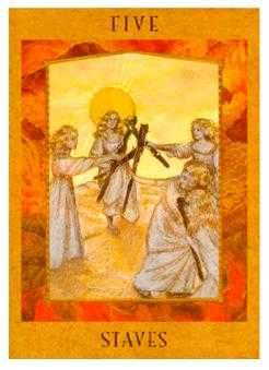 Five of Rods Tarot Card - Goddess Tarot Deck