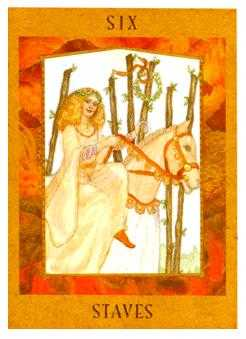 Six of Staves Tarot Card - Goddess Tarot Deck
