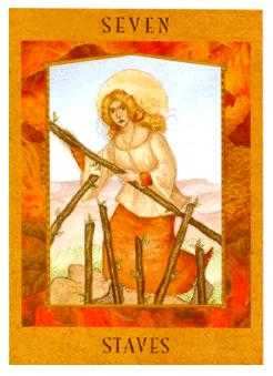 Seven of Rods Tarot Card - Goddess Tarot Deck
