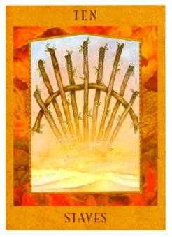 Ten of Batons Tarot Card - Goddess Tarot Deck
