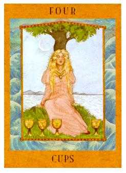 Four of Hearts Tarot Card - Goddess Tarot Deck