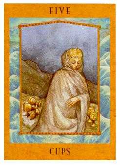 Five of Bowls Tarot Card - Goddess Tarot Deck