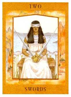 Two of Arrows Tarot Card - Goddess Tarot Deck