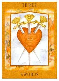 Three of Swords Tarot Card - Goddess Tarot Deck