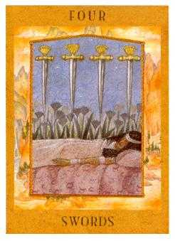 Four of Swords Tarot Card - Goddess Tarot Deck