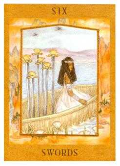 Six of Swords Tarot Card - Goddess Tarot Deck