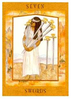 Seven of Swords Tarot Card - Goddess Tarot Deck