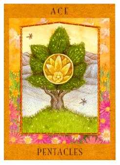 Ace of Pentacles Tarot Card - Goddess Tarot Deck
