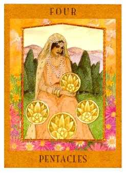 Four of Pumpkins Tarot Card - Goddess Tarot Deck