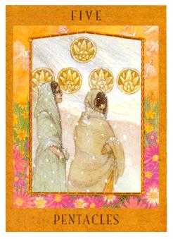 Five of Coins Tarot Card - Goddess Tarot Deck