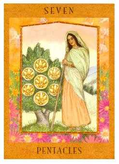 Seven of Coins Tarot Card - Goddess Tarot Deck