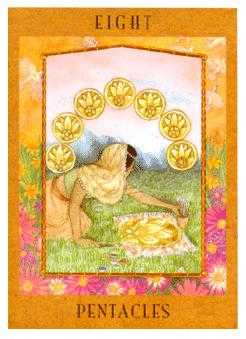 Eight of Coins Tarot Card - Goddess Tarot Deck
